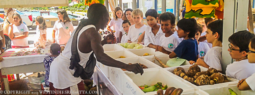 School Children of St.Barths given a tour of the market